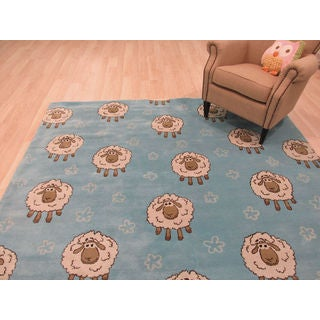 EORC Blue Wool Hand Tufted Kid's Sheep Rug (5' x 8')