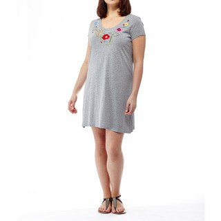 La Cera Women's Short-sleeve Cotton Embroidered Dress