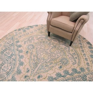 Hand-tufted Wool Ivory Transitional Paisley Jain Rug (6' Round) - 6'