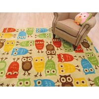 Hand-tufted Wool Beige Kids Animal Kid's Owl Rug - 7'9 x 9'9