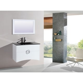 Legion Furniture 32-inch White Wall-mount Bathroom Vanity with Matching Mirror