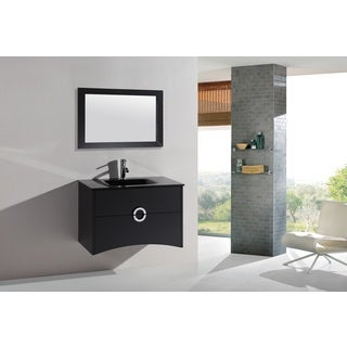 Legion Furniture Espresso 32-inch Wall Mount Bathroom Vanity and Mirror Set