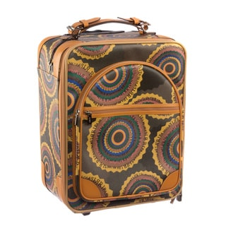 Ripani Time Brown Canvas, Leather, and Fabric 20-inches Carry On Luggage