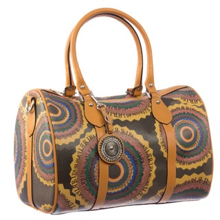 Ripani Time Brown Leather/Canvas Medium Duffel Bag