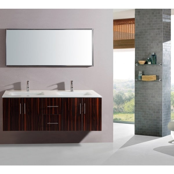shop legion furniture 55 inch double sink wall mount bathroom vanity with matching mirror free. Black Bedroom Furniture Sets. Home Design Ideas