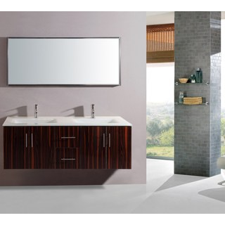 Legion Furniture 55-inch Double-sink Wall-mount Bathroom Vanity with Matching Mirror