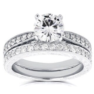 Annello by Kobelli 14k White Gold 1ct Round Moissanite and 1/2ct TDW Diamond Antique Bridal Set