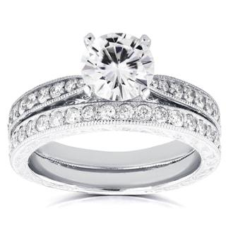 Annello by Kobelli 14k White Gold 1ct Round Moissanite and 1/2ct TDW Diamond Antique Bridal Set
