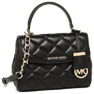 Michael Kors Ava Black/Gold Leather Quilted Crossbody Handbag
