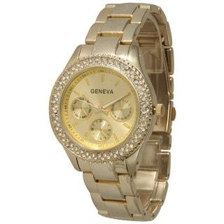 Olivia Pratt Rhinestone Bezel Bracelet Watch