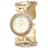 Olivia Pratt Elegant Metal Subtle Rhinestone Cuff Watch