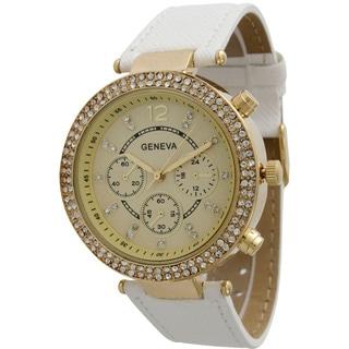Olivia Pratt Elegant Rhinestone Leather Band Watch