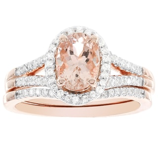 H Star 14k Rose Gold Oval Morganite 1/4-carat H-I, I1-I2 Diamond Bridal Set