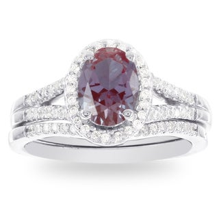 H Star 14k White Gold Oval Created Alexandrite and Diamond Halo Bridal Set