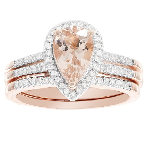 H Star 14k Rose Gold Pear shaped Morganite and 1 4 carat Diamond Bridal Set