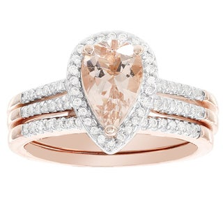 H Star 14k Rose Gold Pear-shaped Morganite and 1/4-carat Diamond Bridal Set