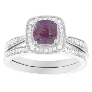 H Star 14k White Gold Cushion Cut Created Alexandrite 1/4ct Diamond Bridal Set (I-J, I2-I3)