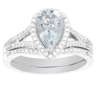H Star 14k White Gold Pear-shaped Aquamarine 1/4ct Diamond Bridal Set (H-I, I1-I2)