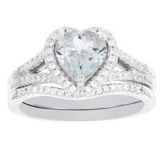 H Star 14k White Gold Heart-shaped Aquamarine 1/4ct Diamond Bridal Set (H-I, I1-I2)