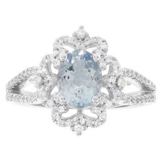 H Star 14k White Gold Oval Aquamarine 1/3-carat Diamond I-J, I2-I3 Engagement Ring