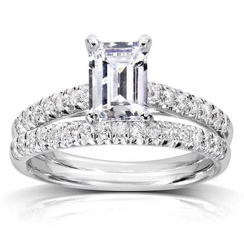 Annello by Kobelli 14k White Gold 1ct Emerald-cut Moissanite (FG) and 1/3ct TDW Diamond (GH) Bridal Rings Set