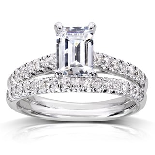 Annello by Kobelli 14k White Gold 1ct Emerald-cut Moissanite and 1/3ct TDW Diamond Bridal Set
