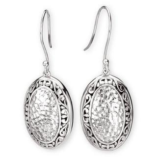 Avanti Sterling Silver Oval Shape Hammered Design Earrings