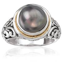 Avanti Sterling Silver and 18K Yellow Round Black Pearl Ring