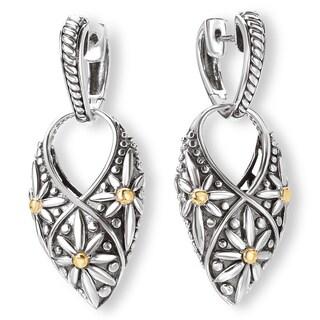 Avanti Sterling Silver and 18K Yellow Gold Arrow Shaped Flower Design Earrings