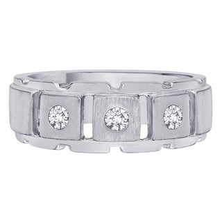 14k White Gold 1/4ct TDW White Diamond Fashion Men's Ring (G-H,I2)