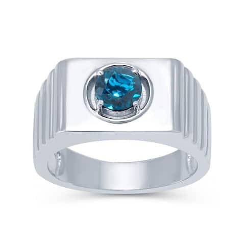 Sterling Silver Londan Blue Topaz Solitaire Men's Ring