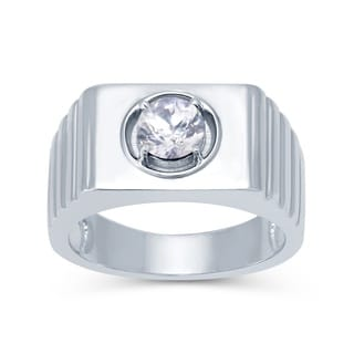 Sterling Silver White Zircon Solitaire Men's Ring