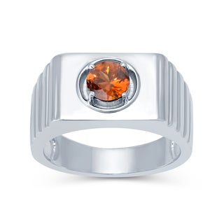 Sterling Silver Brown Zircon Solitaire Men's Ring