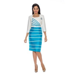 Ella Belle Women's Irregular Stripe 2-piece Bolero Jacket Dress Set