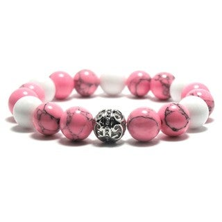 Women's 10mm White, Pink and Black Natural Beads Stretch Bracelet