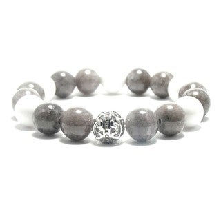Women's 10mm White and Grey Natural Beads Stretch Bracelet