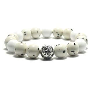 Women's 10mm White and Black Spotted Natural Beads Stretch Bracelet
