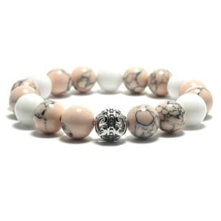 AALILLY Women's 10mm White and Peach Black Textured Natural Beads Stretch Bracelet