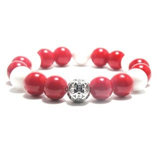 AALILLY Women's 10mm White and Red Natural Beads Stretch Bracelet