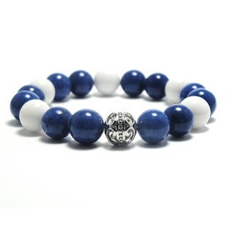 Women's 10mm White and Blue Natural Beads Stretch Bracelet