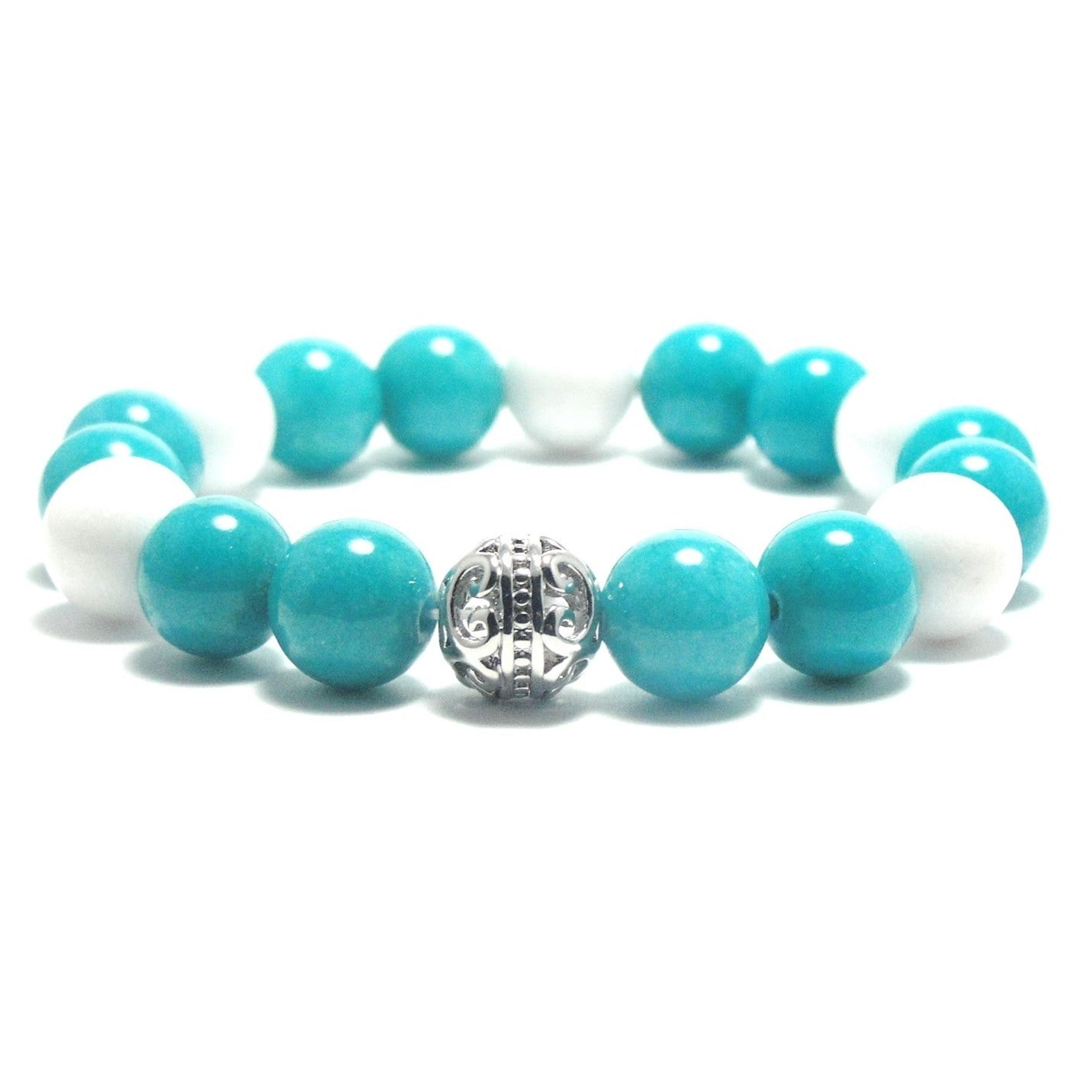Aalilly Women's 10mm White and Turquoise Natural Beads St...