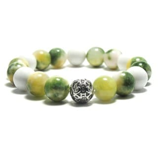 Women's 10mm White, Yellow and Green Textured Natural Beads Stretch Bracelet
