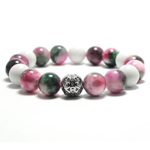 Women's 10mm White, Pink and Green Natural Beads Stretch Bracelet