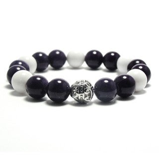 Women's 10mm White and Violet Natural Beads Stretch Bracelet