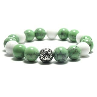 Women's 10mm White, Green and Black Textured Natural beads Stretch Bracelet