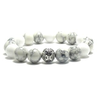 Women's 10mm White and Black Natural Beads Stretch Bracelet
