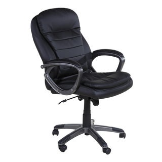OneSpace 60-2383 Black Leather Executive Pillow Top Chair With Padded Armrests