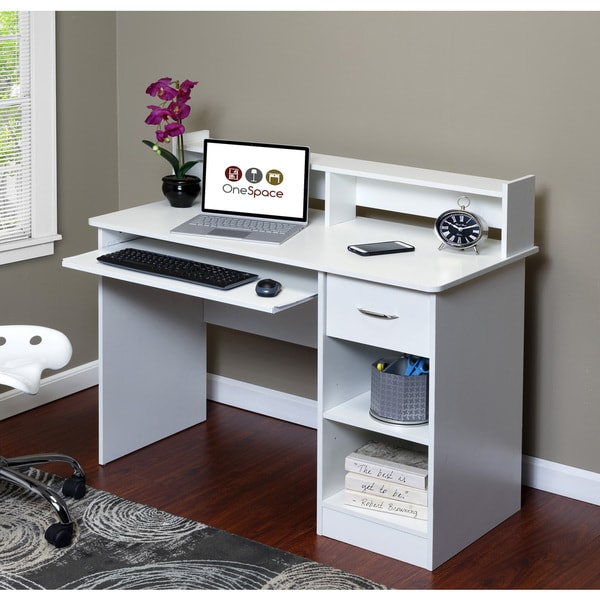 OneSpace 50-LD01 Essential Computer Desk with Hutch. Opens flyout.