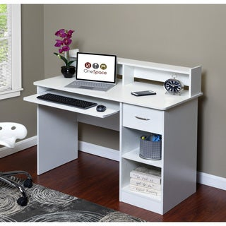 Comfort Products OneSpace White Wood Essential Computer Desk and Hutch With Pull-out Keyboard