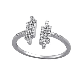 Beverly Hills Charm 10k White Gold 1/6ct TDW Stackable Bars Diamond Ring
